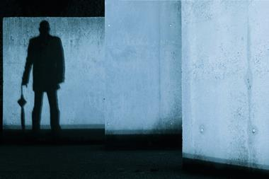 A eerie image showing the silhouette of a man