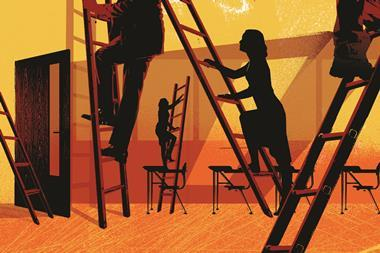 Illustration showing a classroom with four teacher silhouettes navigating their own career ladders