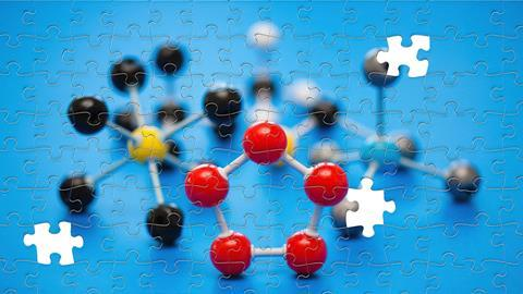 An image showing a nearly solved puzzle of chemical structures