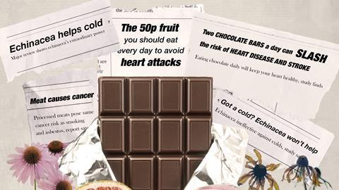 An image showing a collage of newspaper headlines and the relevant food items that they refer to