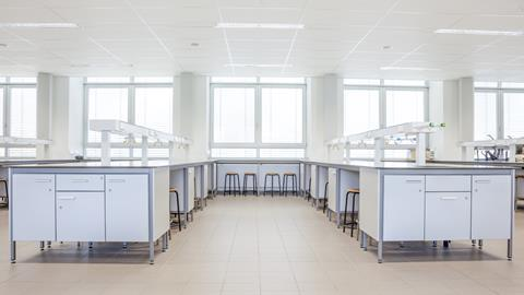 An empty chemistry lab