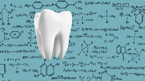 An image showing a tooth on a background comprising of hand-drawn chemical structures