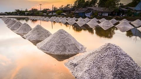 Small heaps of salt in a wet field
