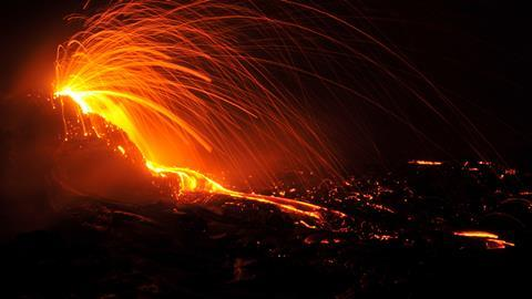 Explosions in the crater of Erta Ale volcano in Ethiopia