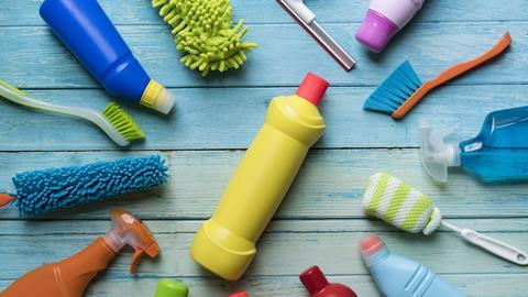 A collection of cleaning products encircling just one