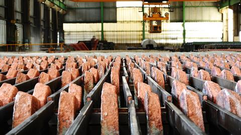 Copper ore in a warehouse