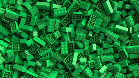 Large pile of green lego bricks