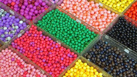 A number of different mixtures of different coloured beads