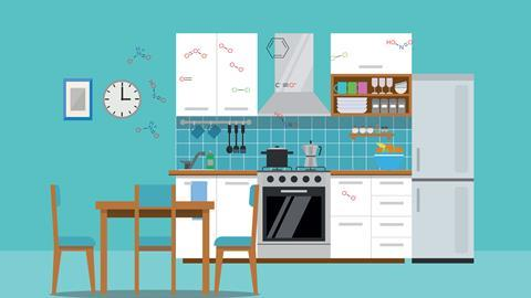 Illustration of a kitchen with the chemical structures of molecules found in indoor air pollution