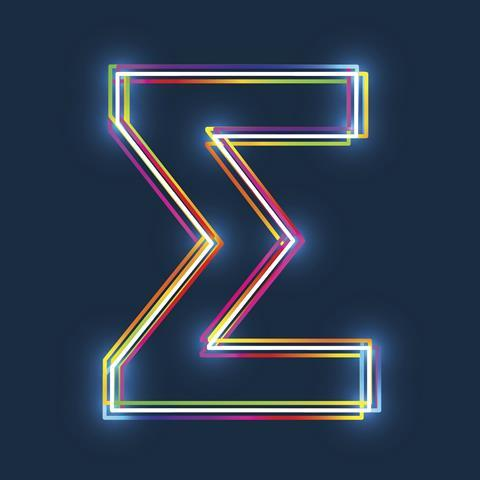 Greek letter sigma, capitalised, in neon