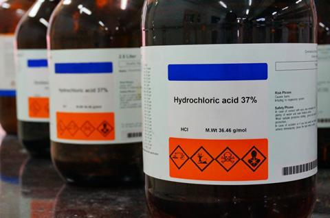 An image showing bottles of hydrochloric acid 37%