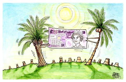 Cartoon - a palm tree and a coconut tree fighting over a banknote