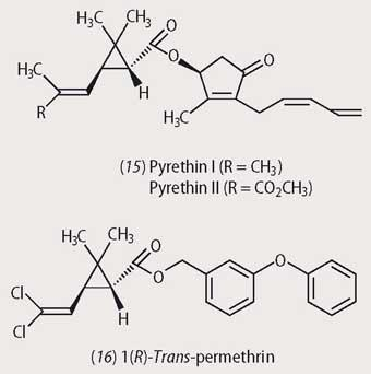 Structures or pyrethin I and II and i(R)-trans-permethrin