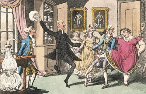 Doctor Syntax and his wife with a party of friends, experimenting with laughing gas in 1820