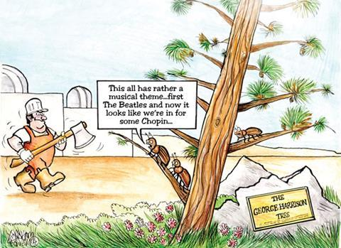 Cartoon depicting the George Harrison tree