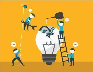Cartoon - building an 'idea lightbulb'