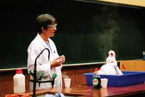Anne performs the Elephant's toothpaste demonstration