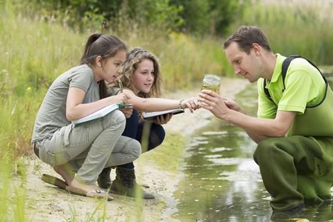 Students making notes and observing by a pond