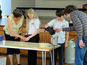 Children try some chemistry experiments