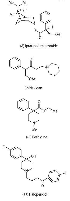 Ipratropium bromide, Navigan, Pethidine and Haloperidol chemical structures