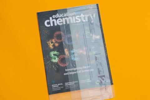 An image showing the September issue of Education in Chemistry in its compostable packaging