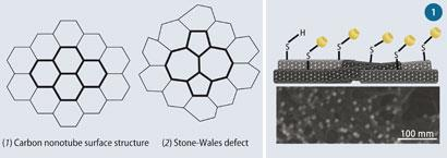 Structures of (1) carbon nanotube surface and (2) Stone-Wales defect; Figure 1 (Top) Unreacted thiol group attached to a CNT; (bottom) gold nanocrystals attached to mat surface group