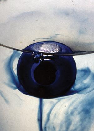 Sodium-potassium alloy showing blue solvated electrons