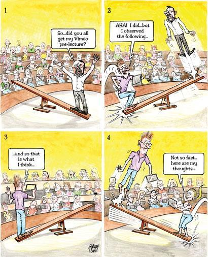 Flipped lectures - cartoon