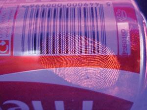 Fingerprint on a drinks can