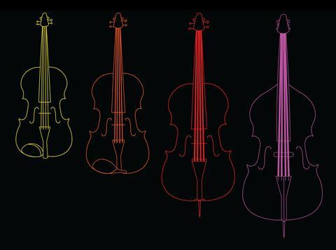 An image showing the increasing string thickness of a violin, viola, cello and bass