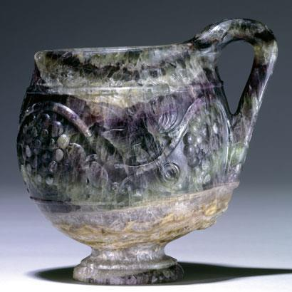The Barber Cup - a first century Roman vessel carved from a single piece of fluorspar (fluorite)