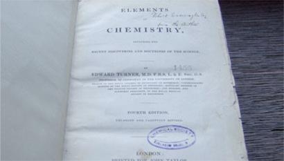 Title page of Elements of chemistry by Edward Turner