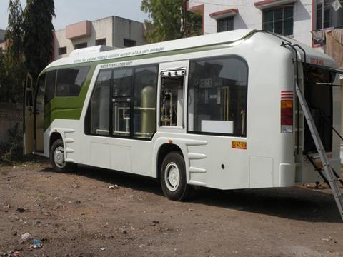 Bus refitted to carry water purification equipment
