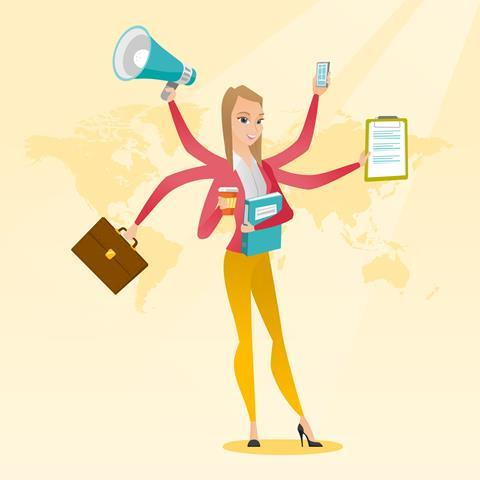 Cartoon woman with many hands and office objects in hands