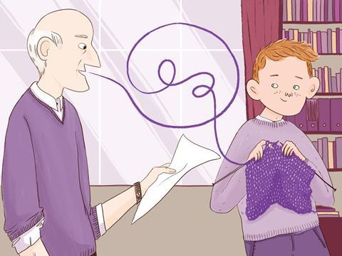 Illustration of male teacher speaking and young male student taking those words and knitting with them, depicting how reflecting on feedback improves results