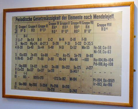 Shot at an angle, a wooden frame holds an old document, hung on a white wall. The document in German is the oldest classroom periodic table