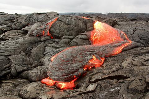 Basaltic lava flow at the Kilauea Volcano, Hawaii