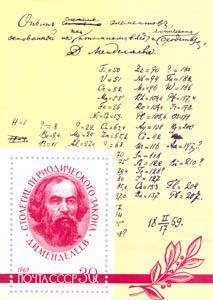 Figure 5 - Mendeleev's 1869 draft of the 'System of the elements' with atomic weights increasing downwards