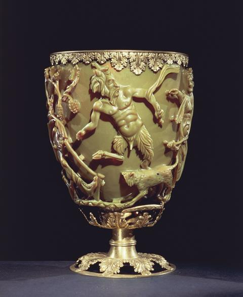 A 4th century glass cup depicting a king stuck in vines