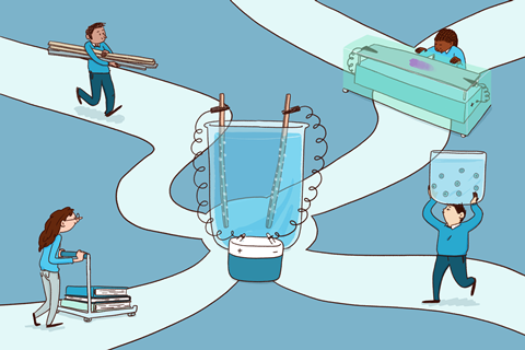 An image showing four students running on separate roads towards an intersection where a large electrochemical beaker is placed; each of the 4 students is holding a specific model used to explain electrochemical concepts