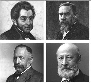 Clockwise from top left: Heinrich Wackenroder; Wilhelm Lossen; Carl Liebermann; Richard Willstätter