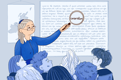 An image showing a female teacher pointing at a whiteboard and using a magnifying glass to highlight the word