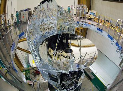 The Herschel mirror as the satellite was prepared for integration with the launcher on 10 May 2009