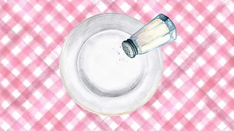 A watercolour image showing a salt shaker above a plate on a red check tablecloth