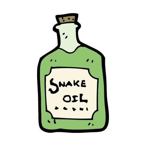Cartoon vial of snake oil