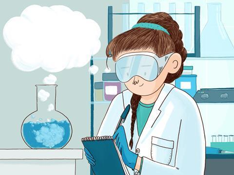 Illustration of female student observing a practical experiment whilst also thinking and using scientific reasoning