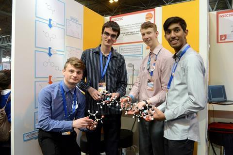 A group of students presenting the project at the Big Bang UK Young Scientists and Engineers Competition in 2014
