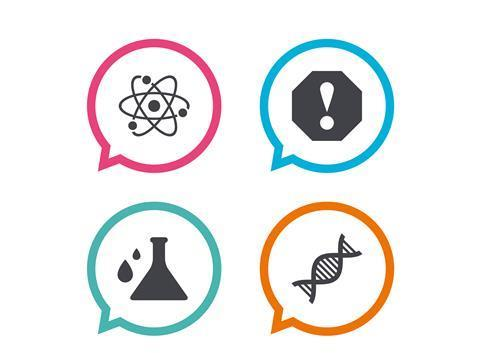 Chemical symbols in speech bubbles