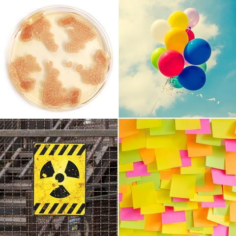 Penicillin culture, helium balloons, radioactive symbol and sticky notes