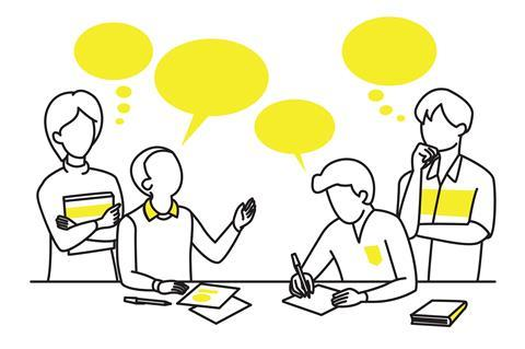 Four cartoon outline students with thought and speech bubbles
